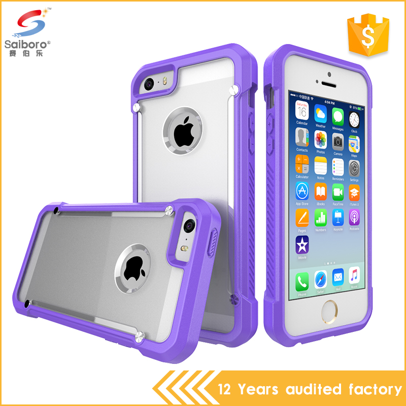 Flexible price transparent for iphone 5 case, tpu + pc for iphone se case, shockproof for iphone se cover