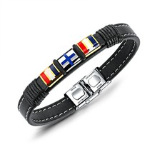 Marlary Punk Jewelry Spanish Bracelets Leather Stainless Steel Bracelet