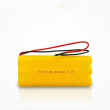 China Manufacturer Deep Cycle NI-CD Battery Pack Rechargeable 600mAh AA 7.2V NICD Battery