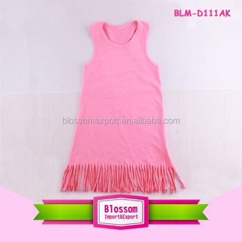 Wholesale new style fashion children frill frocks designs summer sleeveless summer tassel dance dress princess cotton dresses