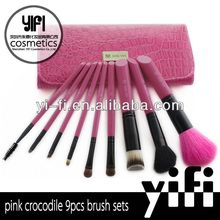 Distributor!9pcs pink crocodile cosmetic brushes 7 pieces mini makeup brush set