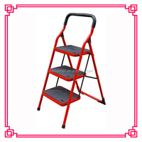 3 step steel round tube step ladders with safety rail, Stee Foldaway Ladders, ladder factory supply, OEM