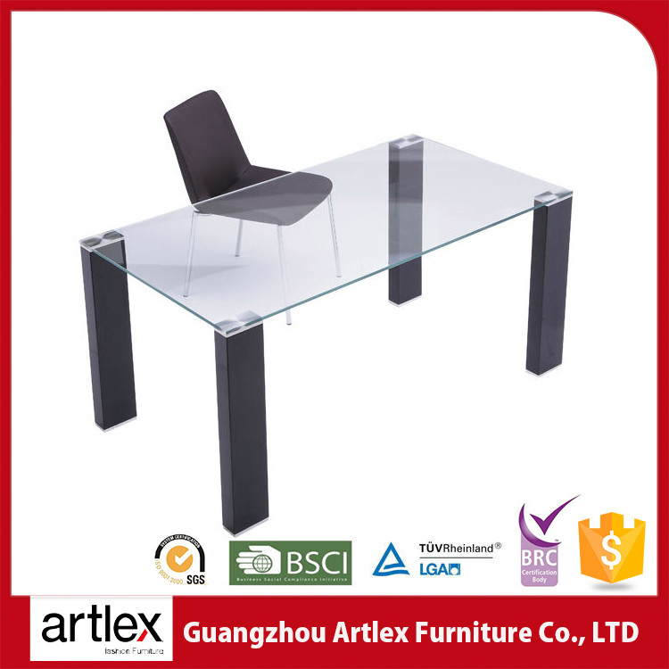 Hot Sale Modern Ultra Stainless Steel Frame Glass Top Dining Table With Leather Chairs