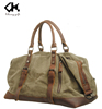 High quality big capacity canvas travel duffle bag with genuine leather handle