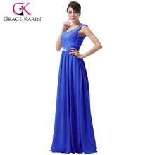 Grace Karin Gray Blue Purple Long Evening Dresses Lace Chiffon Backless Formal Gown Night Dress CL6231-2