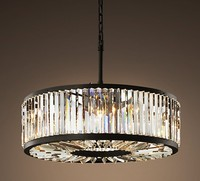 WELLES CLEAR CRYSTAL MEDIUM ROUND IRON CRYSTAL CHANDELIER