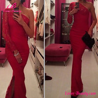Private label red floral one shoulder ladies long lace evening dress