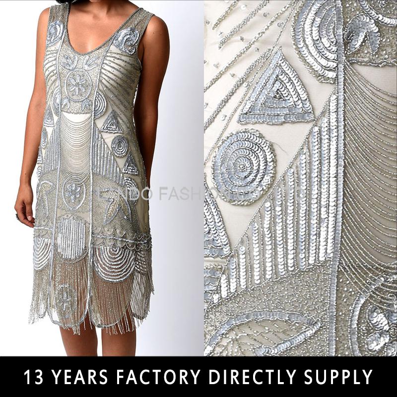 Бахрома стеклярус на платье 94
