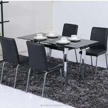 luxury modern extendable folding glass dining table and chairs