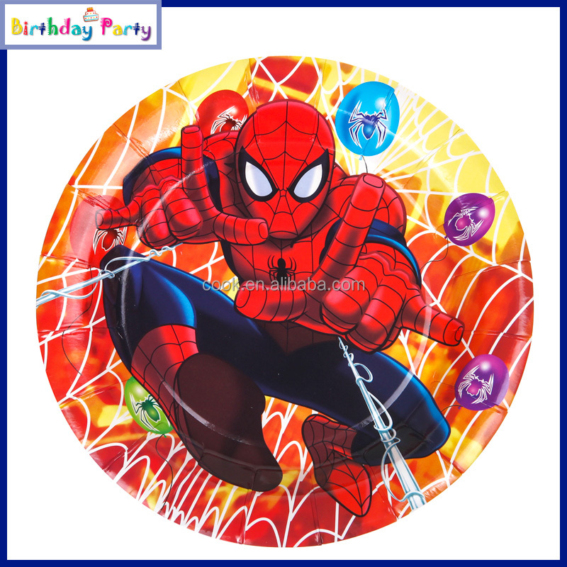 Spiderman Paper Plates Supplies Cartoon Themed Party
