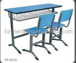 High quality durable cheap metal frame student desk and chair set