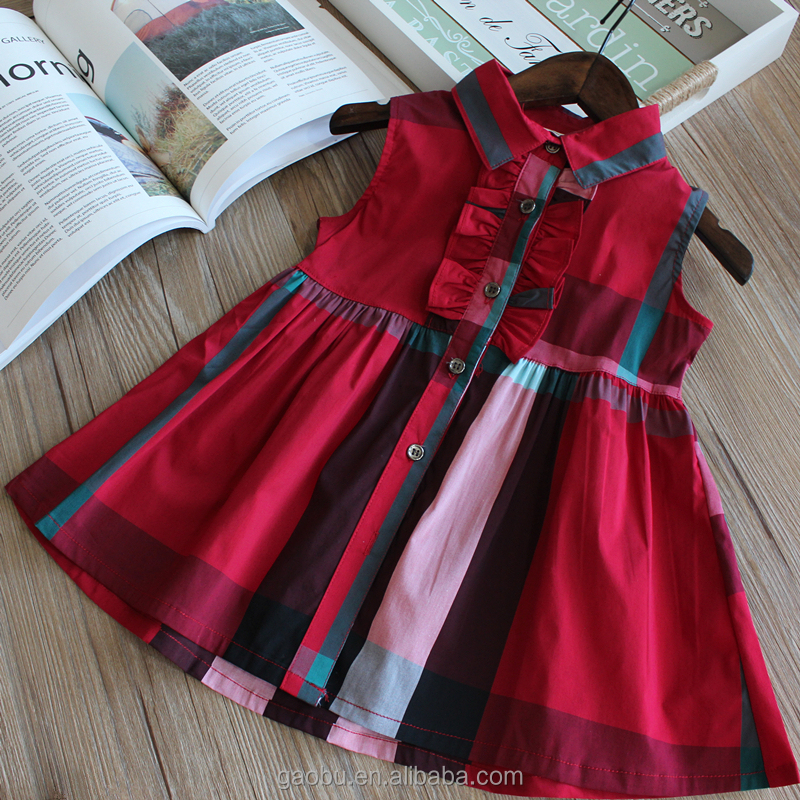 Toddler Baby Girls Clothing Plaid Skirt Cartoon Dress