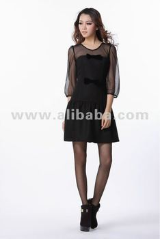 see-through dress wool fabric with bow