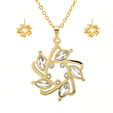 Factory Wholesale Price Stainless Steel Necklace Chain 18K Gold Plated Unique Flower Jewelry Set