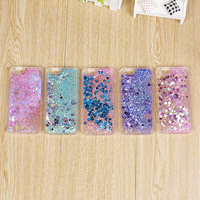 2016 Clear Cellphone Back Cover Case Dynamic Liquid Glitter Sand Quicksand Star PC+TPU For IPhone Cases