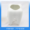 Lovely white tooth shaped ceramic toothbrush holder,Ceramic tooth toothbrush holder,ceramic tooth toothbrush container