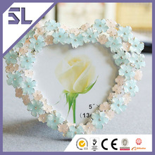 Pink & Blue Flower Heart Shape Photo Picture Frame for Wedding Decoration