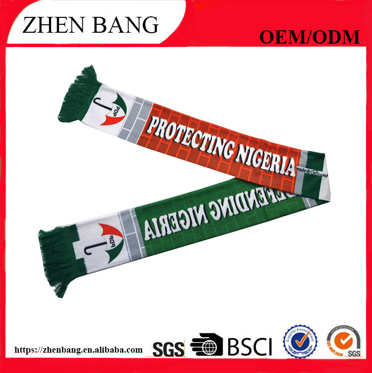 National soccer game event promotional customized design 100% acrylic knitted football fan scarf