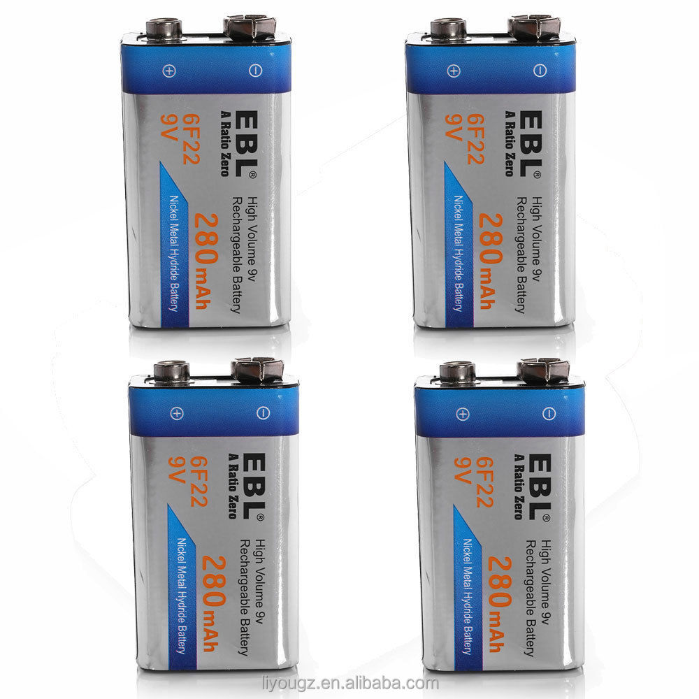 2016 EBL Wholesale Price Ni-MH 280mAh High Volume 9v Rechargeable Original Dry Batteries