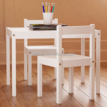 Kids Table and Chairs Set White Wood Children's Set with One Table and 2 Chairs , Great for Playing , Learning , Eating
