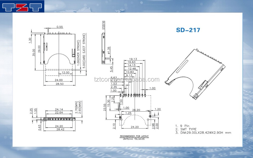 TF card connector manufacturer/supplier/exporter micro TF card connector , push to push way , outside to solder , SMT