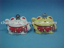 Feng Shui Rice Cake Lucky Cat-pottery coin bank-japanese style