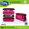 Fashion design two compartment plastic silicone lunch box with spoon and fork