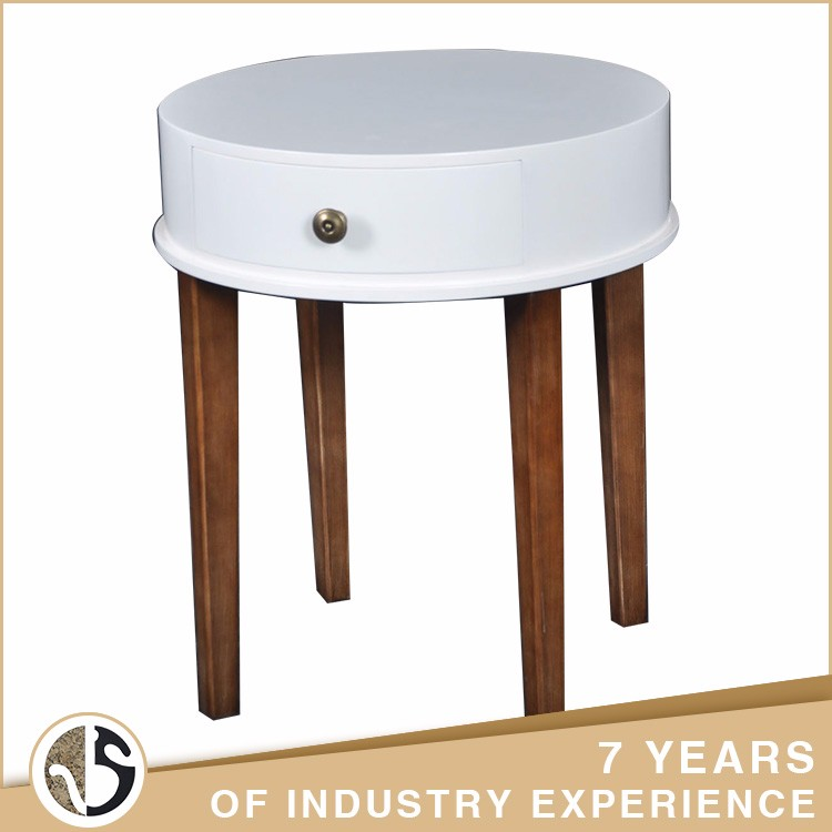 Custom circular tabletop white coffee table with one drawer