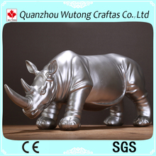 Home Decoration Silver Polyresin Rhinoceros Figurine supplier