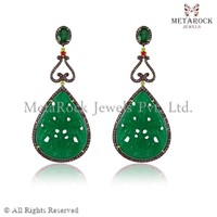 Green Onyx Ruby Gemstone Carved Earring 92.5 Sterling Silver Carved Earring New Fashion Design Carved Earring