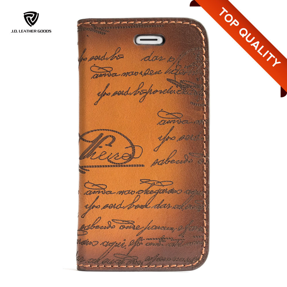 Laser Engraved Wholesale Leather Mobile Cell Phone Accessories Case