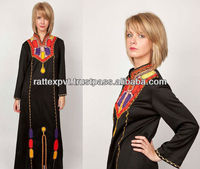 Latest Vintage Dashiki Kaftan Black Ethnic Dress with Geometric Tribal Indian Bold Color Embroidery 2015