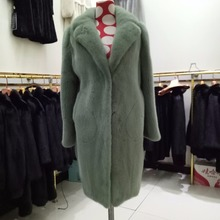 Imported mink fur dark green color 90cm women coat