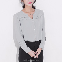 china custom making ladies v neck long sleeve pure color loose big size chiffon blouse elegant design for women clothes