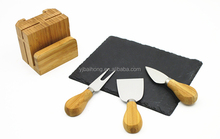 hot sale cheese knife and black slate wooden cheese board