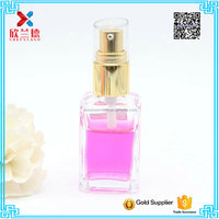 Typical 30ml glass clear square lotion toner spray bottle