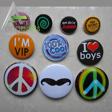 Promotion custom cheap blank round metal tin button badge wholesale with safety pin