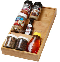 Home & Kitchen In-Drawer Bamboo 3 Tier Spice Rack Drawer Tray - Spice Storage / Organization