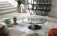 modern round glass coffee table, with tempered glass top/bottom and stainless steel frame
