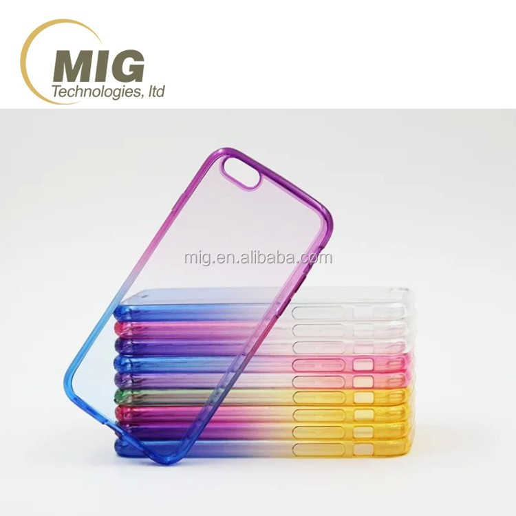 For iphone 6 cell phone case gradient colors transparent tpu plastic case for iphone 6