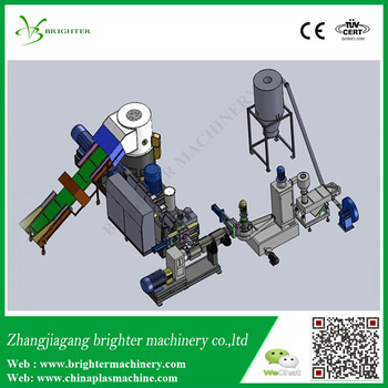 Compacting double stage extruder water ring pe plastic film granulation line