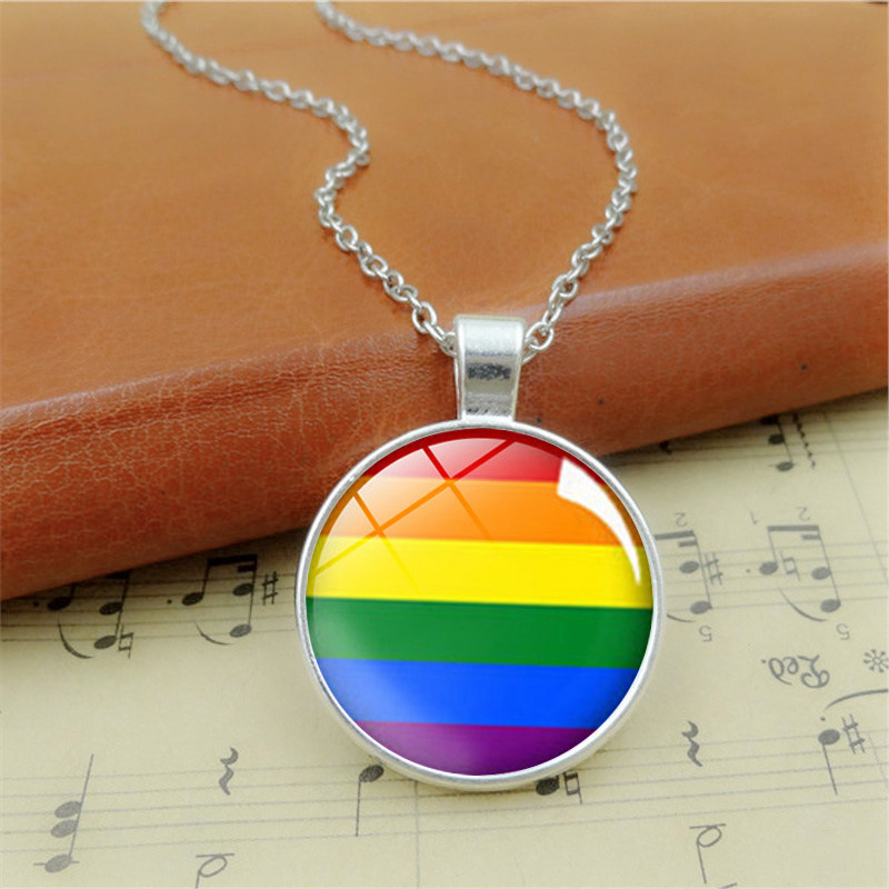 Fancy rainbow jewelry necklace gay glass necklace