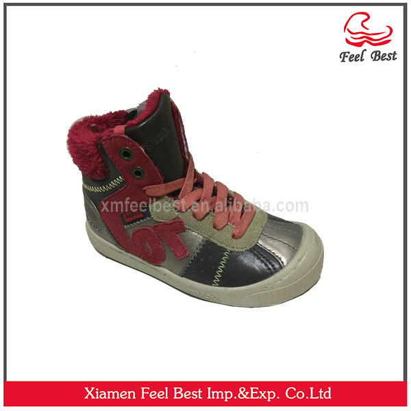 2017 new style hot sale warm children's leather shoes