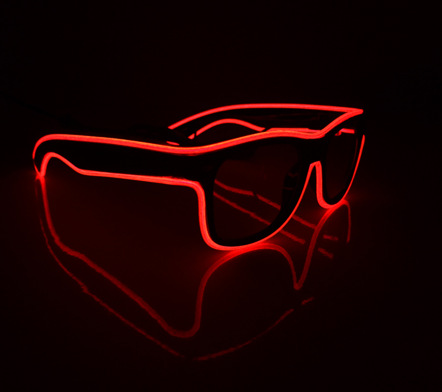 luminescent el sunglasses, luminescent flashing glasses, glow in the dark glasses
