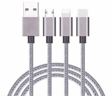 120cm 3-in-1 Multifunction Lightnning Micro USB Type-C Data Cable For IOS, Android, Type C Device