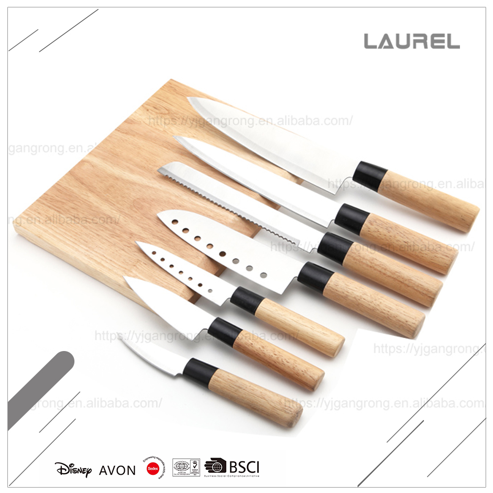 Japanese high carbon steel knife set kitchen with beech wood handles