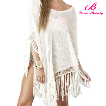 Wholesale White Tassel Women Beach Cover Up