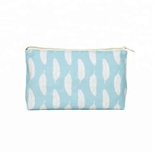 White feather blue soft leather cosmetic bag wholesale with competitive price