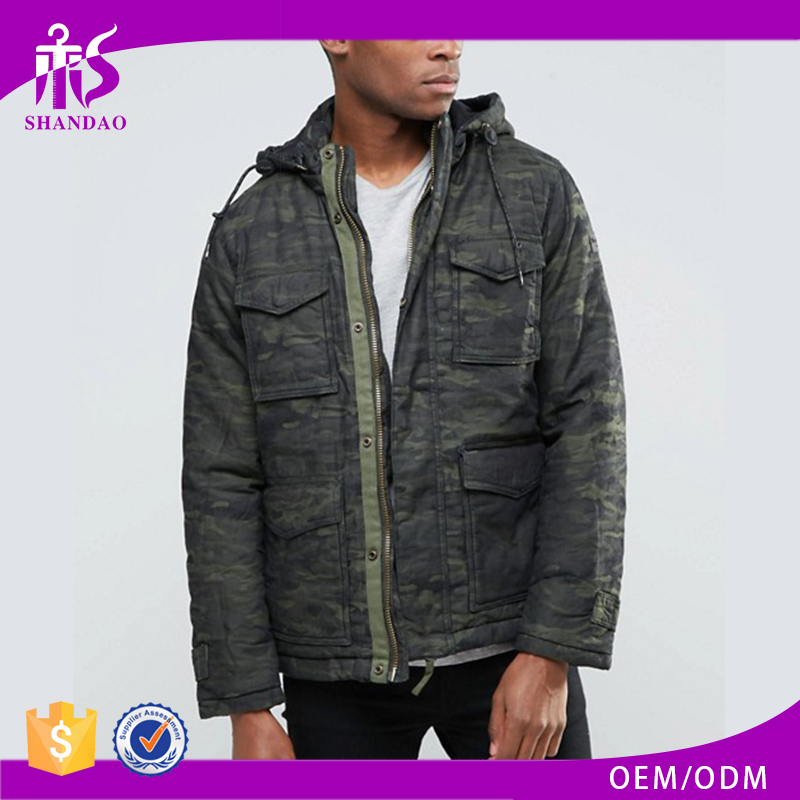China Hot Selling New Winter Men Camo Printed With Hood Zipper Army Jacket