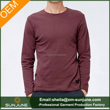 Skin tight mens long sleeve round neck t shirt